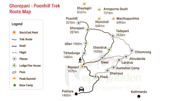 Ghorepani Poon Hill Trek Map