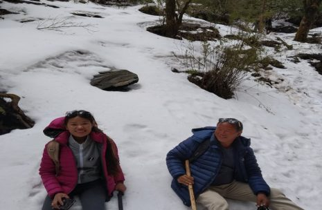 Taking rest on Glacier of Ghorepani Trekk