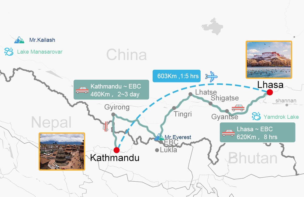 Lhasa and Everest Base camp Tour Map