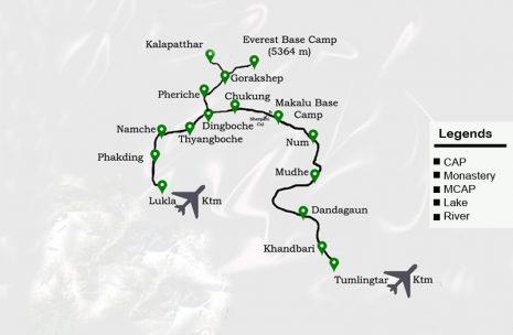 Makalu Trek Base Camp Route Map
