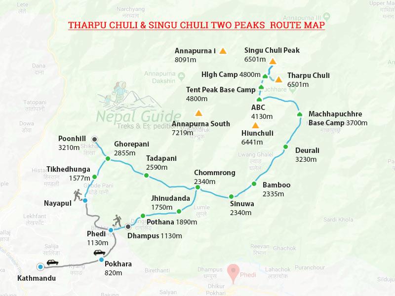 Tharpu Chuli Peak Climbing Map