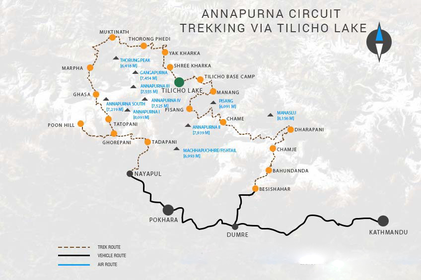 Tilicho Lake and Annapurna Circuit Trek Map