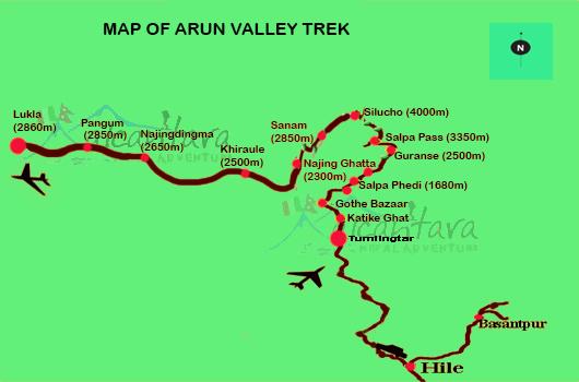 Arun Valley Trek Map