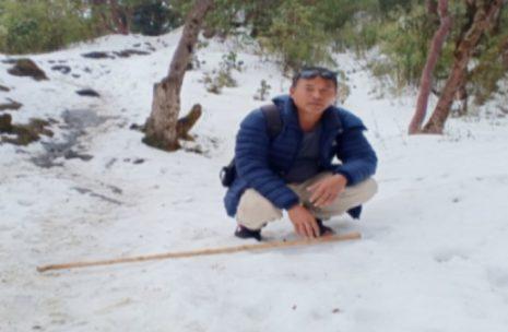 Chij gurung on Glacier in Ghorepani Trek