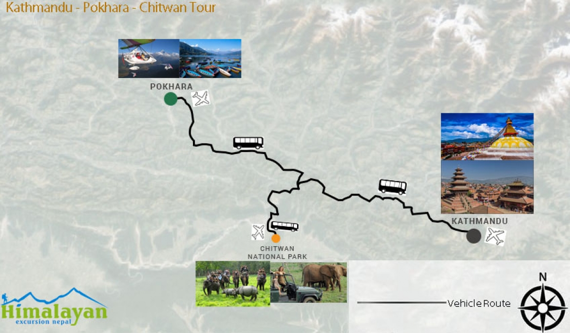 Nepal Golden Triangle Tour Map