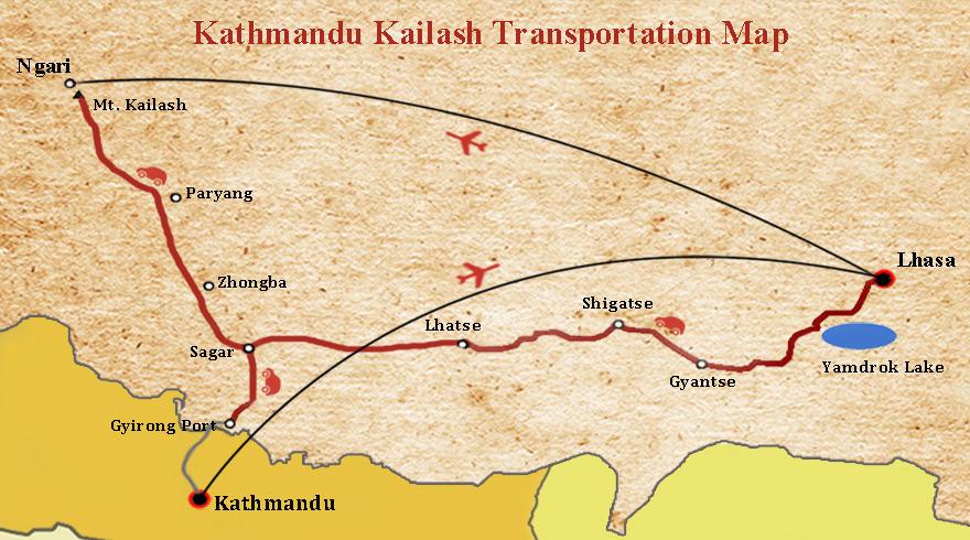 Lhasa and Mt Kailash Tour Map