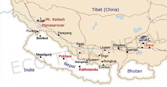 Kailash, Everest B. C. Lhasa Tour Map