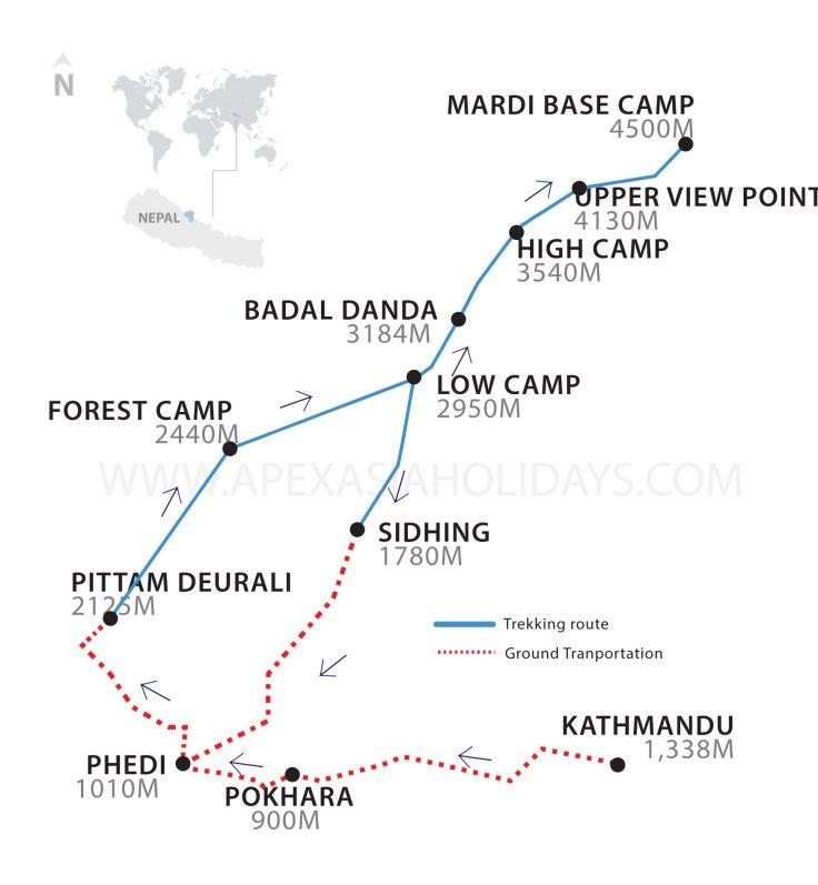 Mardi Hiimal Trek Map