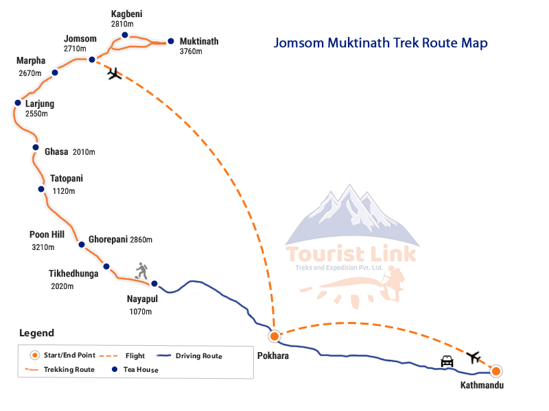 Jomsom Muktinath Short Trek Map