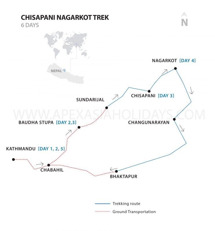 Nagarkot and Chisapani Hiking Map