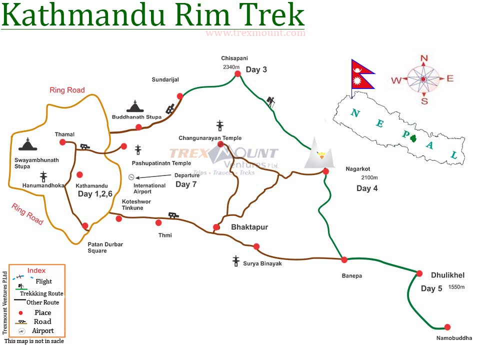 Kathmandu Valley Rim Hiking Map