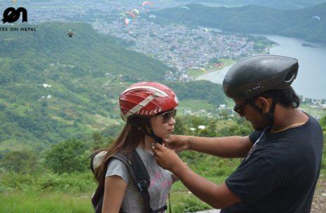 Paragliding starts in Sarangkot